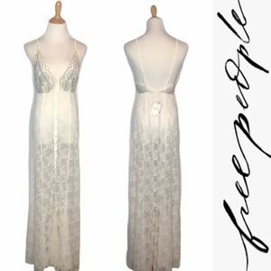 NWT Free People Intimately Ivory Lace Maxi Gown xs